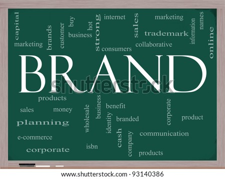 Brand Word Cloud Concept on a Chalkboard with great terms such as consumers, trademark, online, marketing, corporate, product and more.