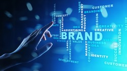 Brand words cloud on virtual screen. Branding, Marketing and Advertising concept.