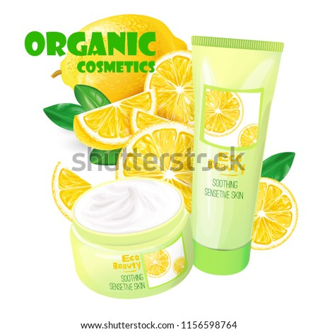 Branded tubes of soothing cream with lemon for sensitive skin realistic illustration isolated on white background. Organic cosmetics concept for womens body care eco beauty product ad