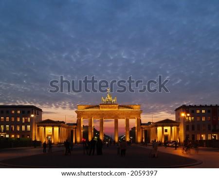 Brandenburg Gate at Dawn with copyspace - stock photo