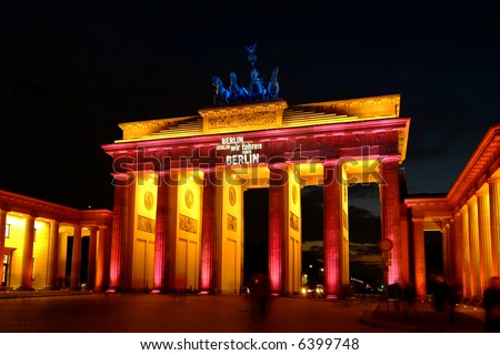 brandenburg gate, colorful illuminated