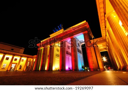 Brandenburg Gate colorful illuminated, Berlin, Germany