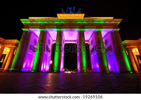 Brandenburg Gate colorful illuminated, Berlin, Germany