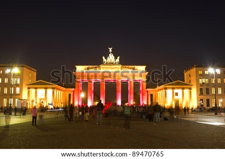 brandenburg gate in berlin, festival of lights, germany