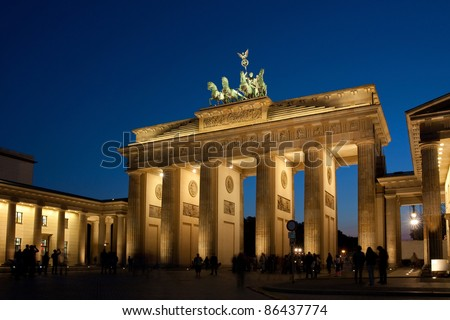 Brandenburg Gate in Berlin, Germany at night, Brandenburger Tor
