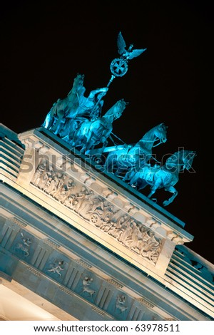 Brandenburg Gate lit by blue light, Berlin, Germany