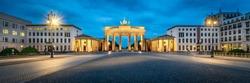 Brandenburg Gate panorama at dusk, Berlin, Germany