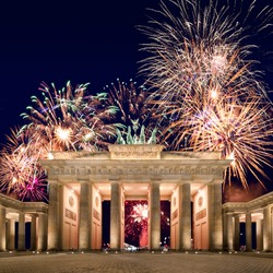 Brandenburg gate with fireworks on New Year´s Eve, Berlin, Germany
