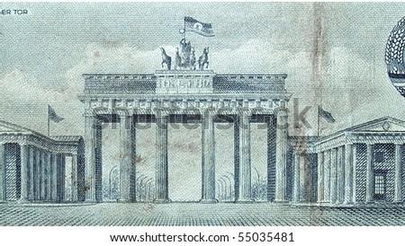 Brandenburger Tor (Brandenburg Door), famous landmark in Berlin, Germany - on DDR bank notes