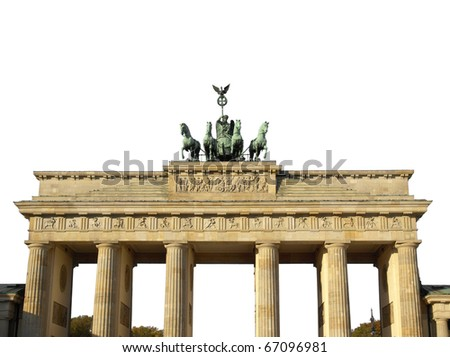 Brandenburger Tor (Brandenburg Gate), famous landmark in Berlin, Germany - isolated over white background