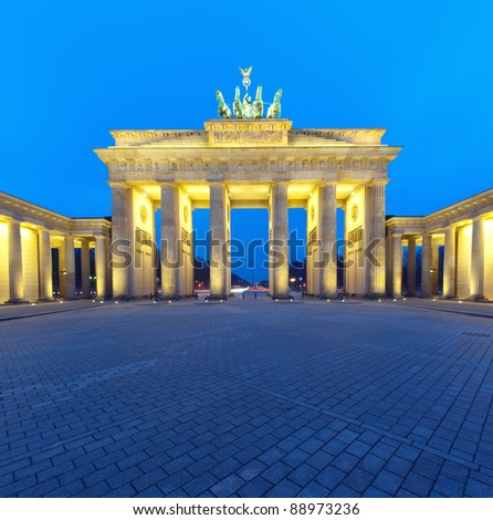Brandenburger Tor (Brandenburg Gate) panorama, famous landmark in Berlin Germany at night