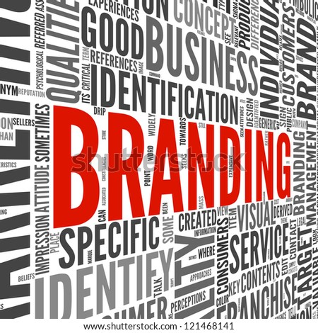 Branding and marketing concept in word tag cloud on white - stock photo