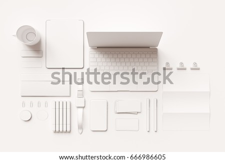 Branding Mock up & White Stationery. Office supplies, Gadgets. 3D illustration. High quality