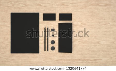 Branding mockup. Sheet of paper, business cards, binder clips, badges and pencils. 3D rendering illustration. #1320641774