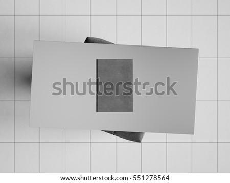 branding stationery mockup scene black and white 3d illustration