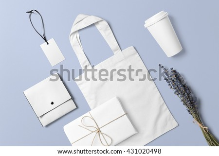 Branding stationery mockup scene, blank objects for placing your design. Hand made items for wedding invitations. #431020498