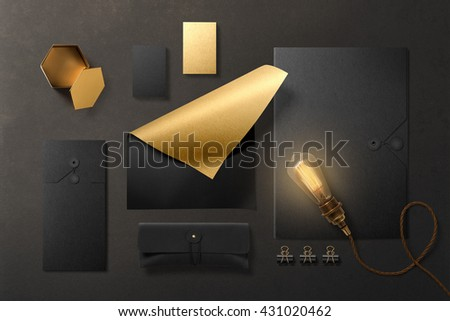 Branding stationery mockup scene, blank objects for placing your design. Premium black items with gold foil effect.