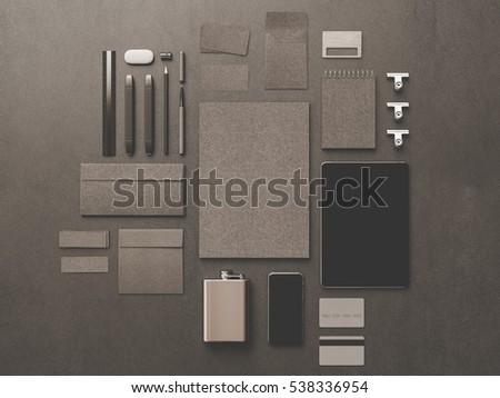 Branding stationery mockup scene. 3D illustration. High quality