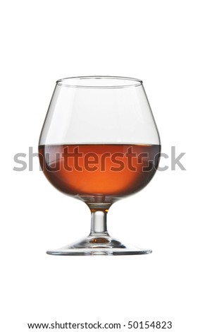 brandy cognac glass isolated - stock photo