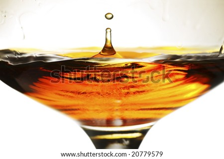 brandy splash in a snifter glass