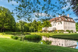 Branitz castle in Cottbus, Germany. built for August Heinrich Graf von Pueckler-Muskau in 1871. The Castle is located in the beautiful Branitz Parc.