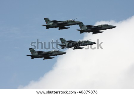 BRASILIA, BRAZIL - 7 SEPTEMBER: Brazilian Air Force Squadron (Northrop F-5E/F Tiger II) during an air show with the occasion of National Day of Brazil September 7, 2009 in Brasilia, Brazil