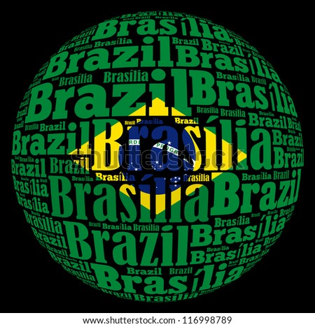Brasilia capital city of Brazil info-text graphics and arrangement concept on white background (word cloud)
