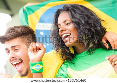 Brasilian Supporters at Stadium Brazil
