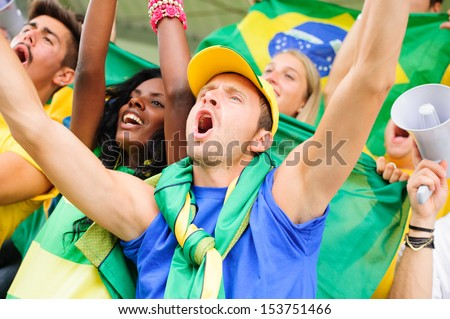 Brasilian Supporters at Stadium , Brazil