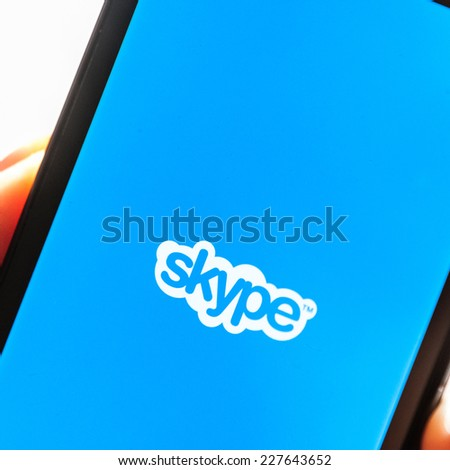 BRASOV, ROMANIA - OCTOBER -31-2014: Skype is a voice-over-IP service and instant messaging client, developed by the Microsoft Skype Division.