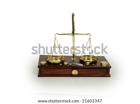 Brass and wood Scale used to weigh out small items
