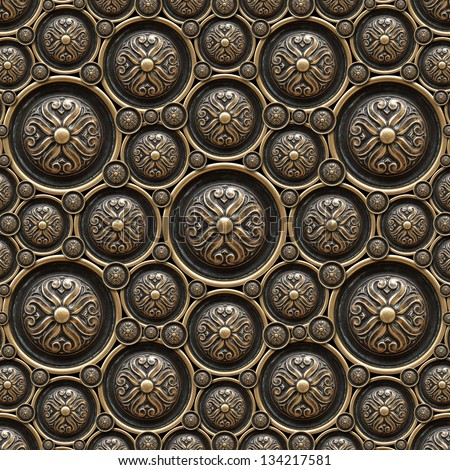 Brass Background With Classic Ornament / Texture Of Drawer Of A ...