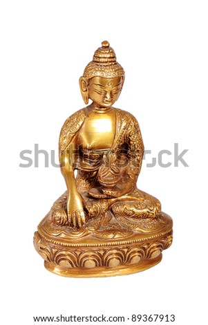 Brass Buddha statue isolated on white
