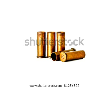 Brass bullet shells, 38 size for revolver handgun, studio shot