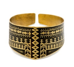brass cuff bracelet with ancient Persian pattern