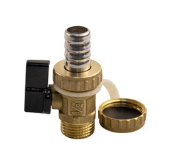 Brass drain cock with hose connection and cap. Isolated on a white background.