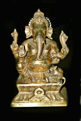 Brass Ganesha idol Vastu, Ganesh Murti, Ganesha Golden Statute