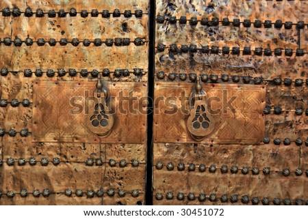 Brass gate in the medina of Marrakesh, Morocco