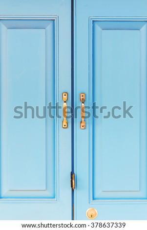 brass handle with blue door #378637339