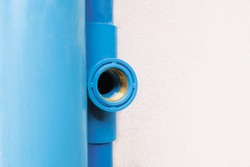 Brass inner screw in blue water pipe for three way and tap connection