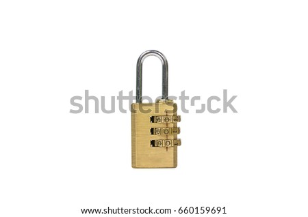 Brass lock with the code set isolated on white background #660159691