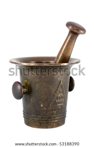 Brass mortar and pestle isolated on white background.
