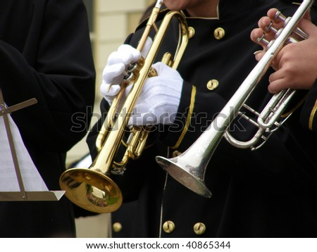 Brass musicians, trumpets, detail - stock photo