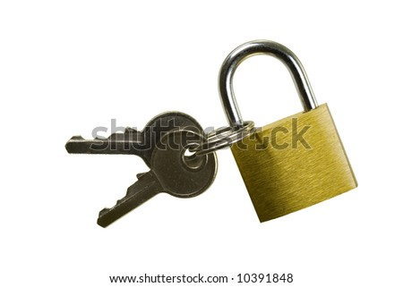 Brass padlock keyed alike with two keys; isolated, four clipping paths included