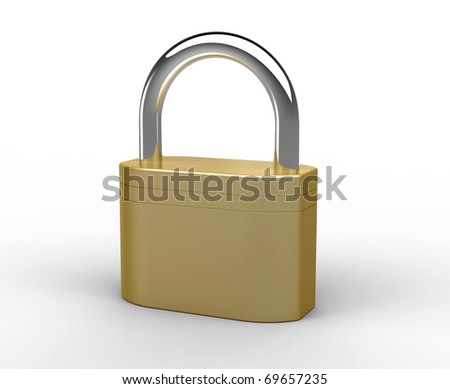 Brass padlock on a white background.