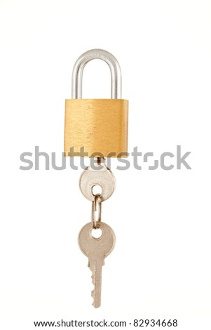 Brass padlock with key isolated on a white background