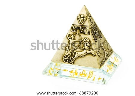 Brass Pyramid souvenir isolated on white