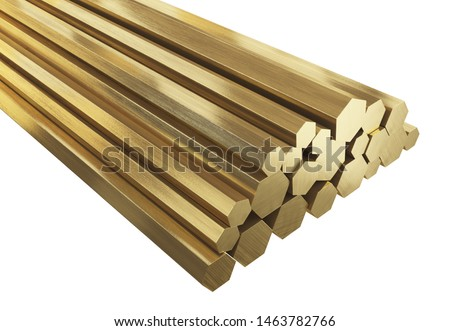 Brass rods of various sizes. Isolated, clipping path included. 3D illustration  Foto stock ©