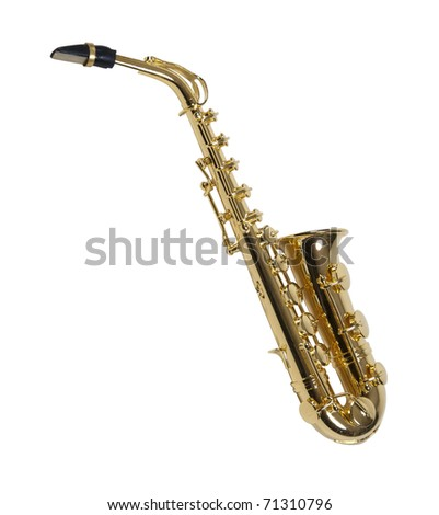 Brass saxophone with standard keys and touches - path included