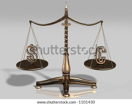 Brass scales with US dollar and euro symbols